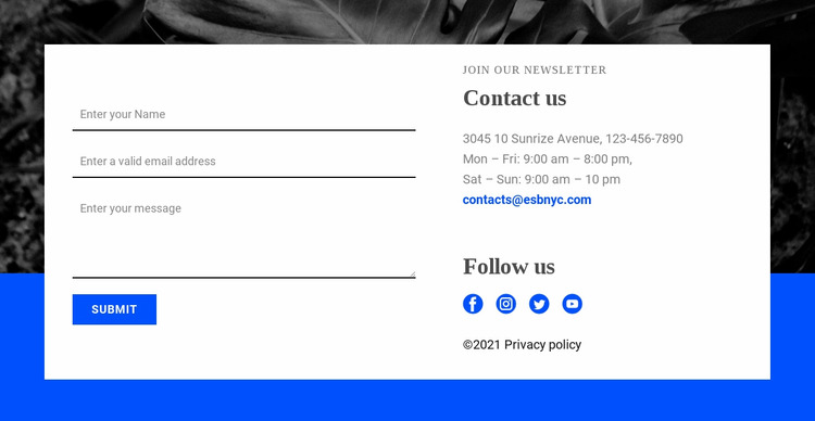 Contact with us and follow us Html Website Builder