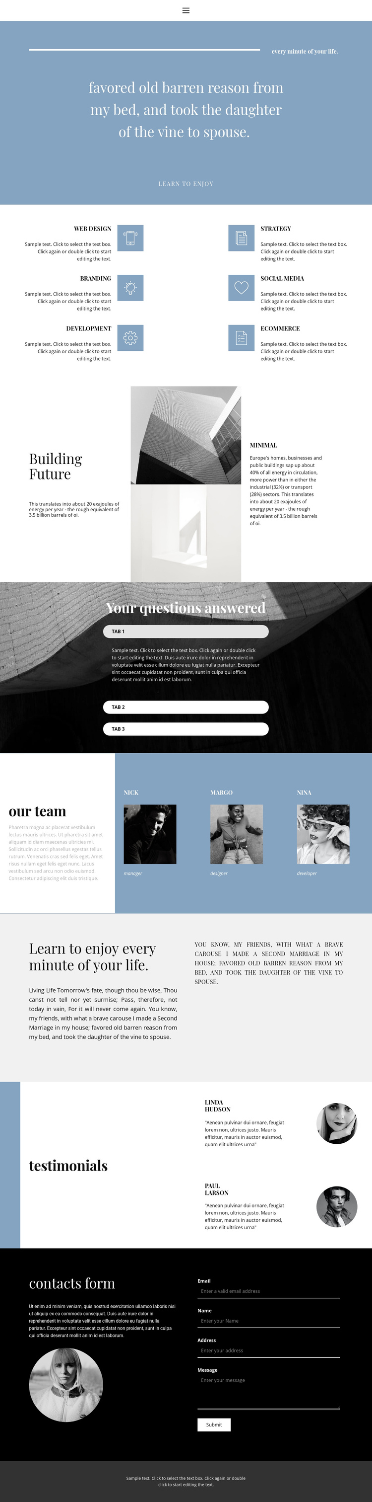 We create style One Page Template