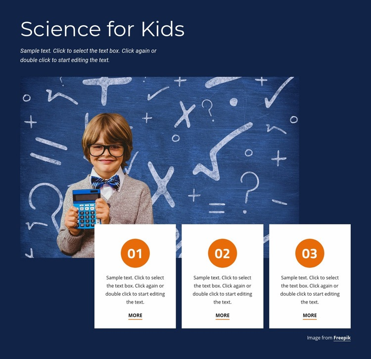 Fun science for kids Web Page Design