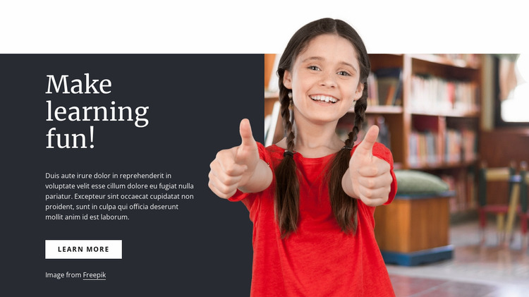 Make learning fun Website Mockup