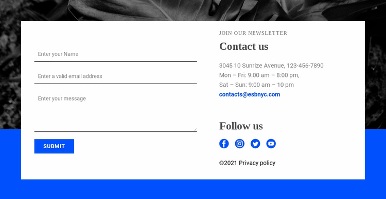 Contact with us and follow us Website Template