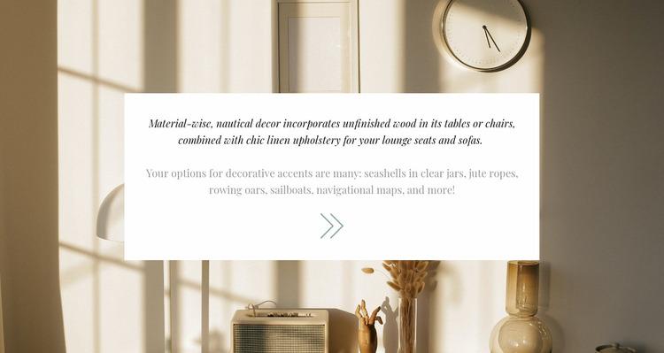 Elegance in the interior Website Mockup