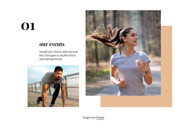 Running club events HTML Template