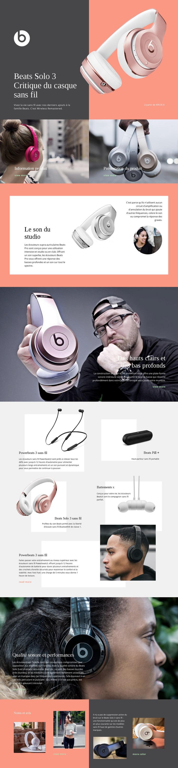 Beats sans fil Modèle de site Web