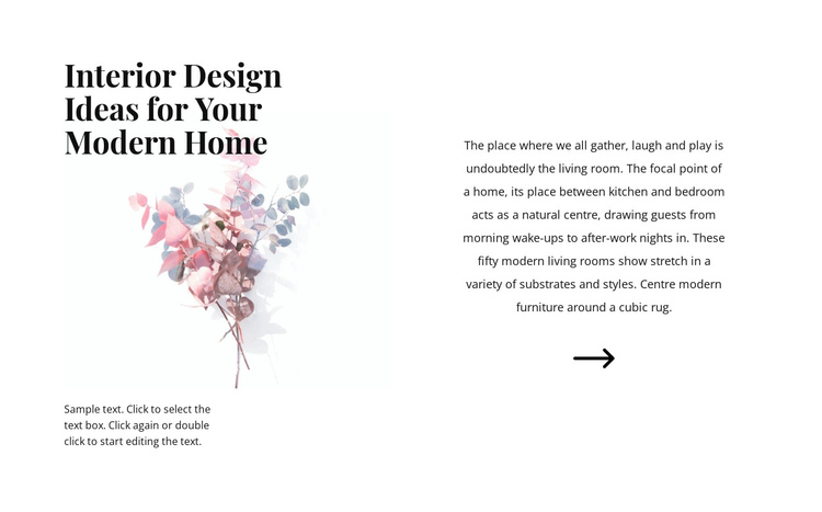 Floral forms in the interior One Page Template