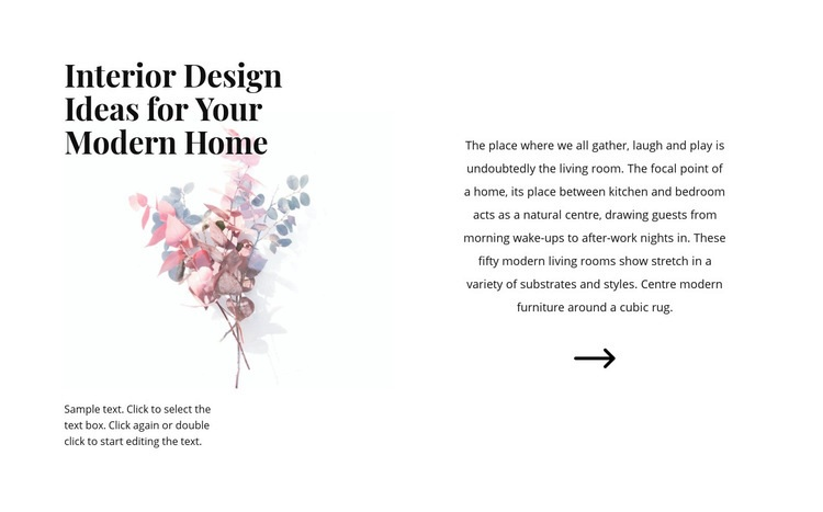 Floral forms in the interior Web Page Design