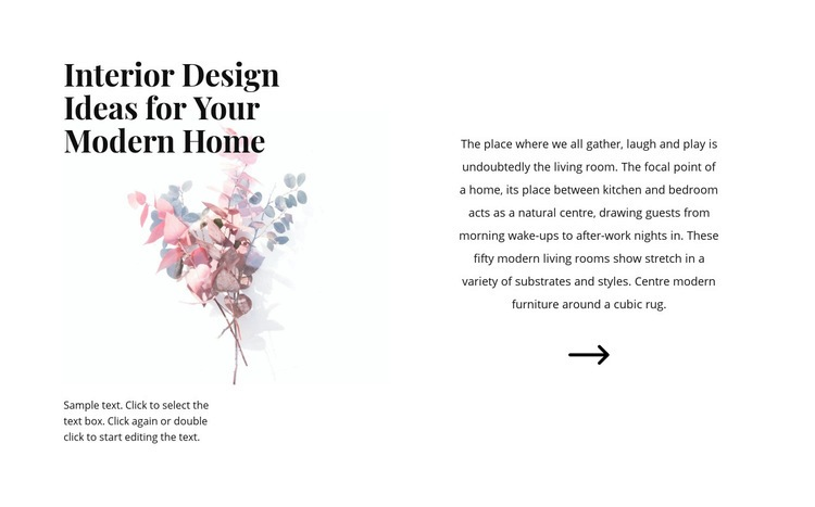 Floral forms in the interior Website Creator