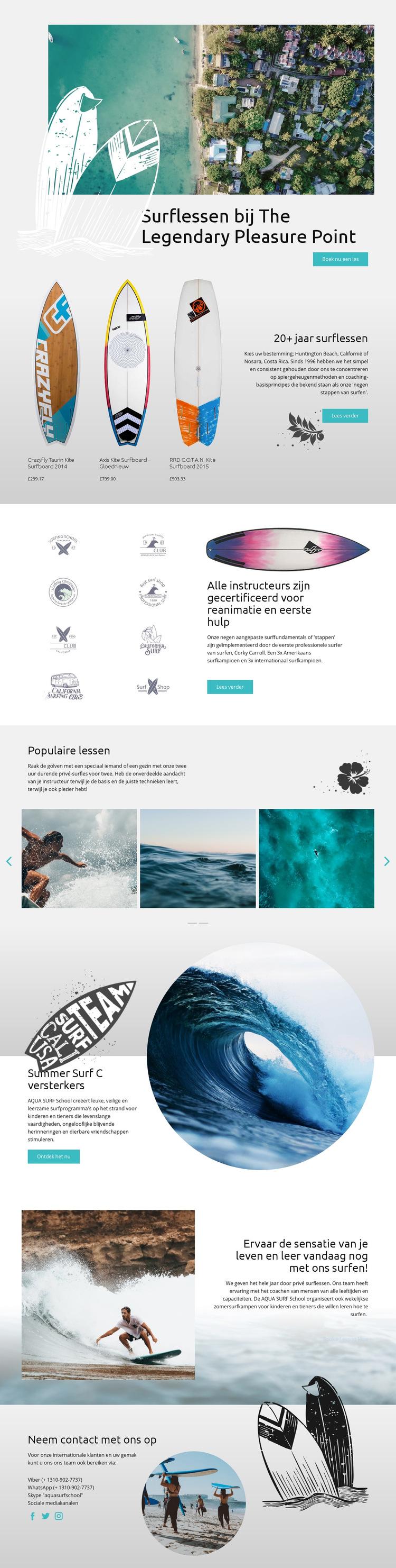 Surflessen Website sjabloon