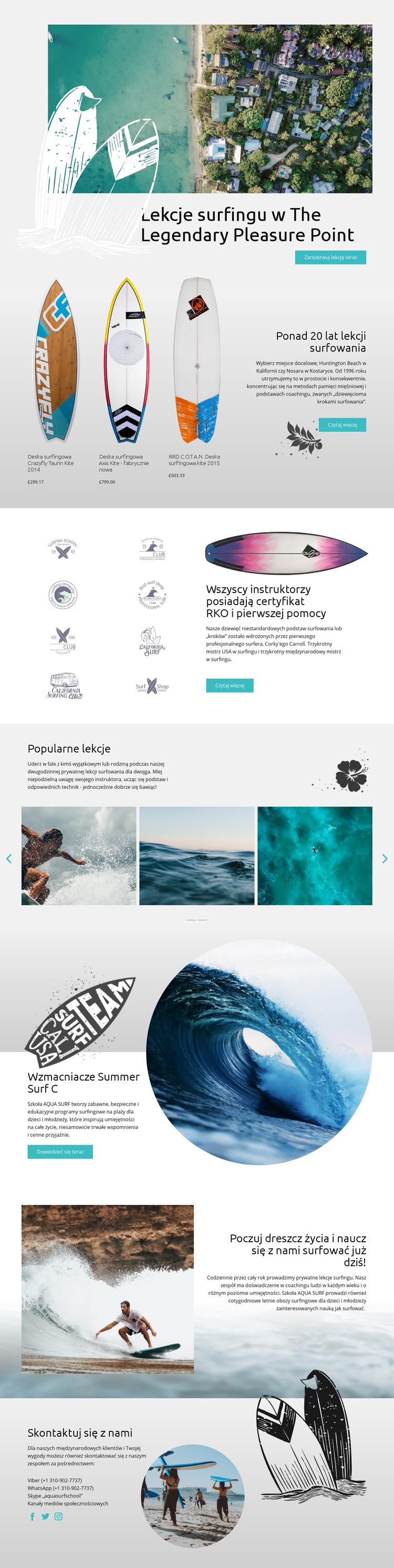 Lekcje surfingu Szablon witryny sieci Web