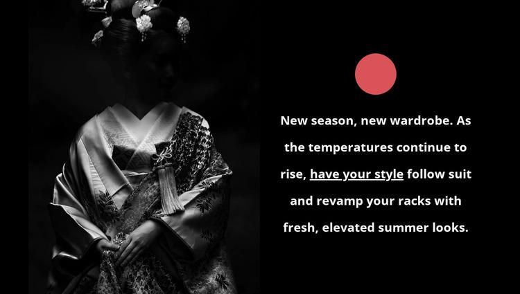 Japanese clothing fashion Website Mockup