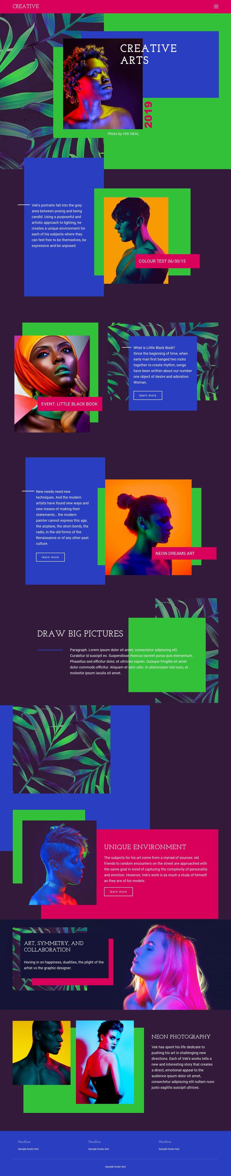 Creative Art Ideas Website Mockup