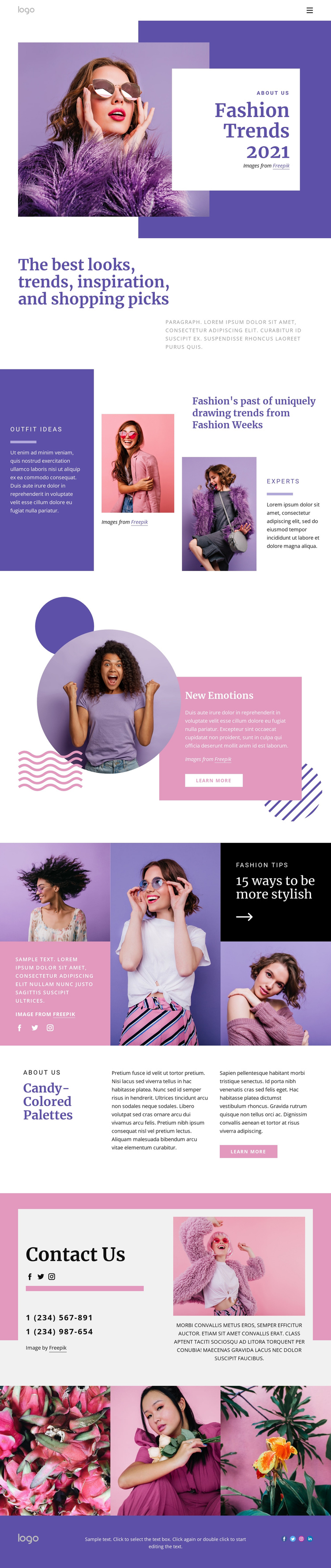 Get the hottest styles One Page Template