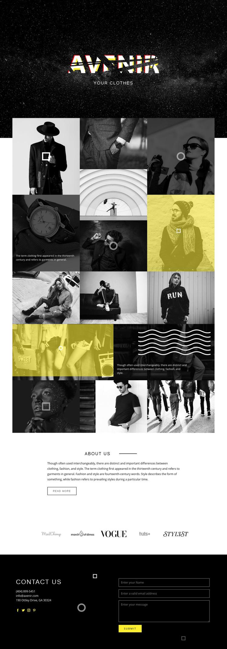 Avenir Homepage Design