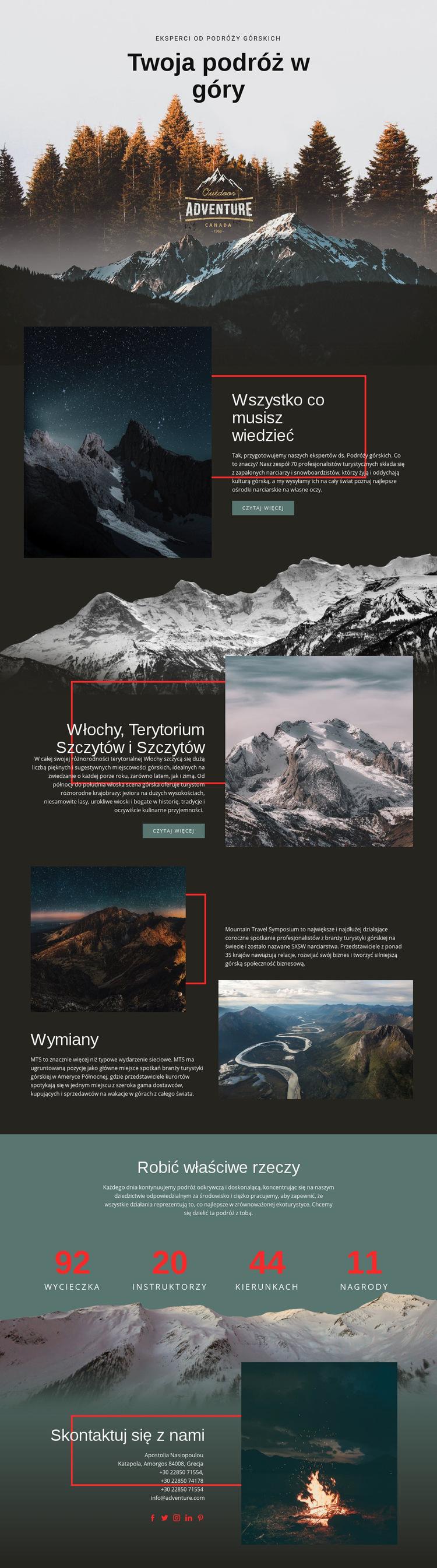 Wszystko o górskich podróżach Szablon witryny sieci Web