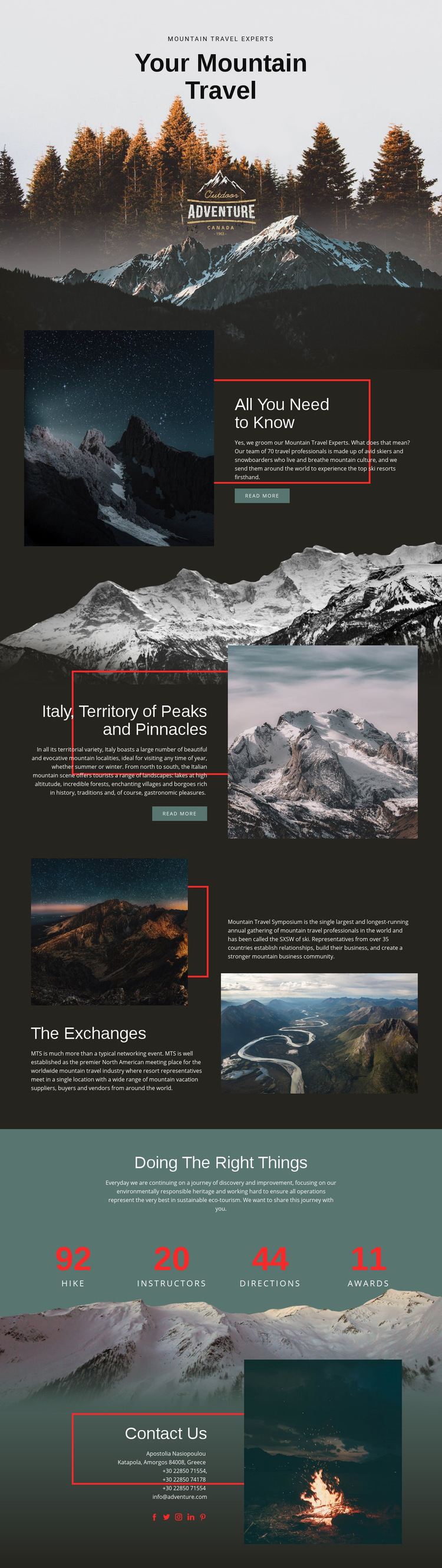 All about mountain travel Web Page Design