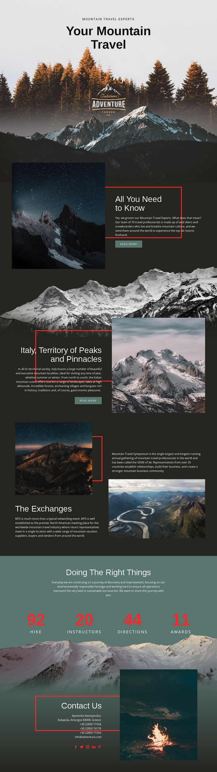 All about mountain travel Website Mockup