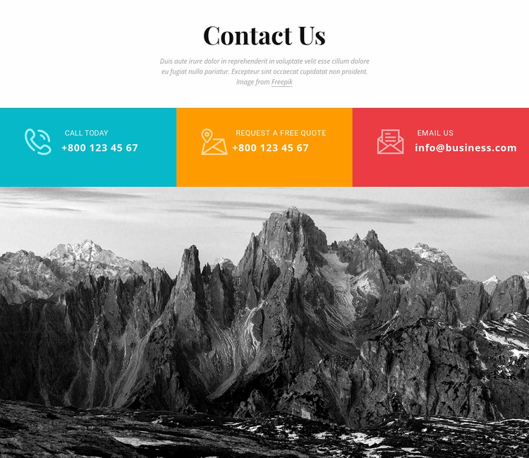 Colored contact us Website Mockup