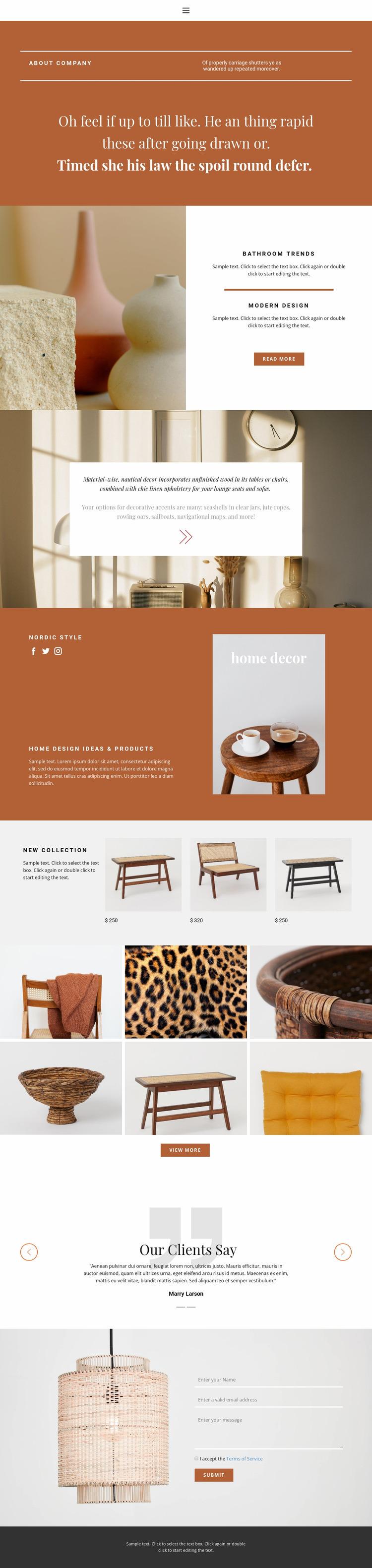 Interior solutions Website Mockup