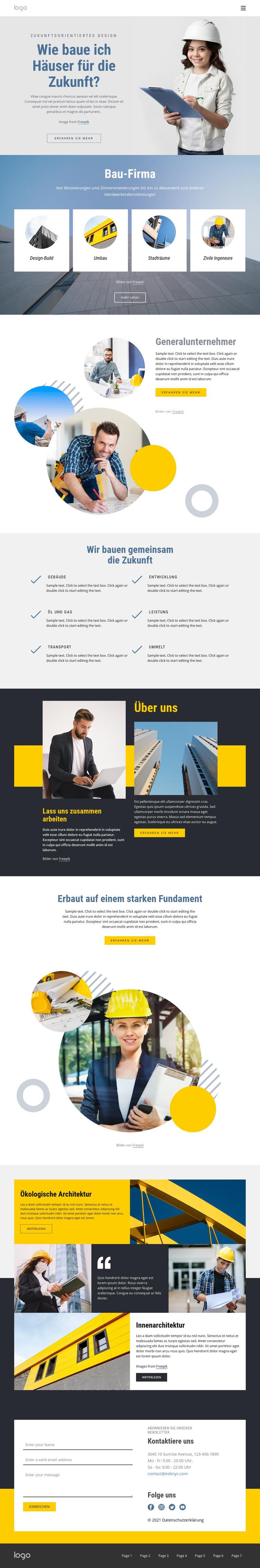 Generalunternehmer Website-Vorlage