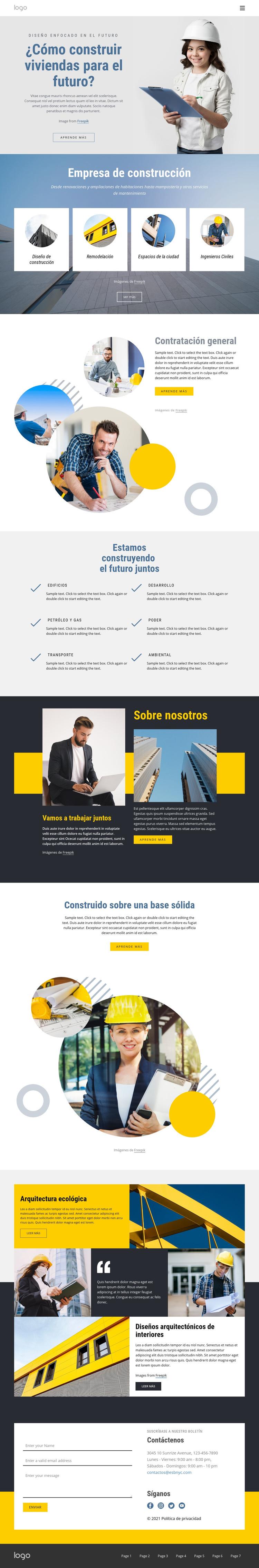 Empresa contratista general Plantilla de sitio web