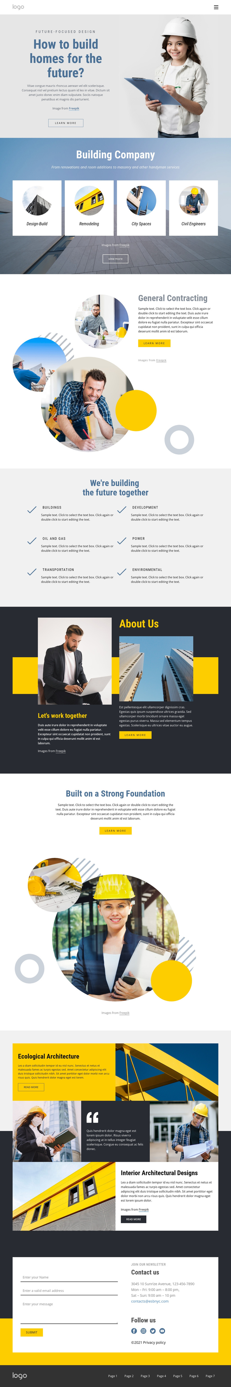 General contracting company One Page Template