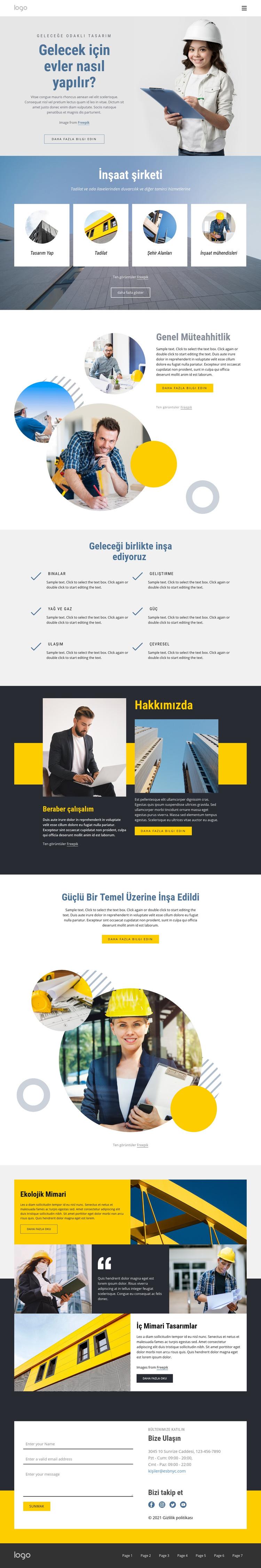 Genel müteahhitlik şirketi Web Sitesi Şablonu
