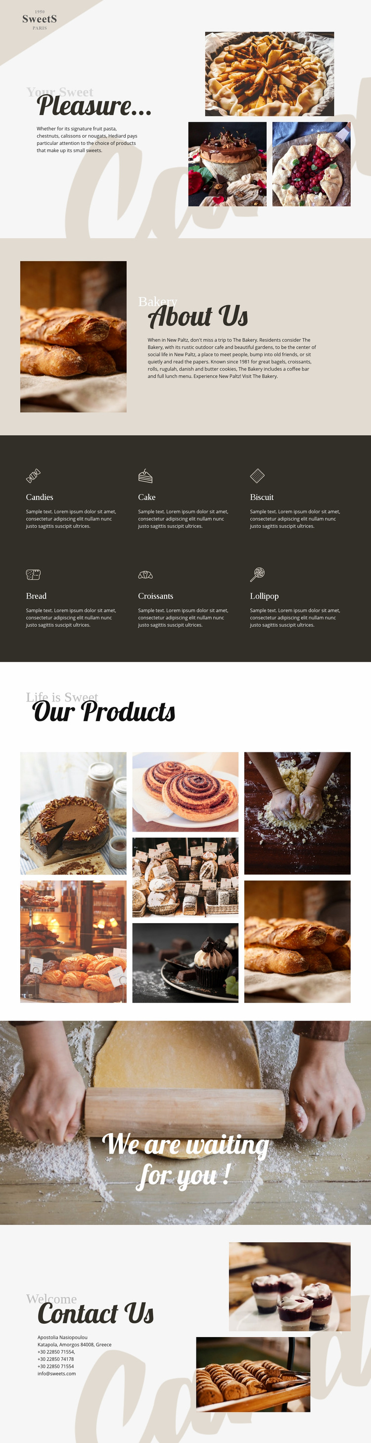 Cakes and baking food Web Page Design