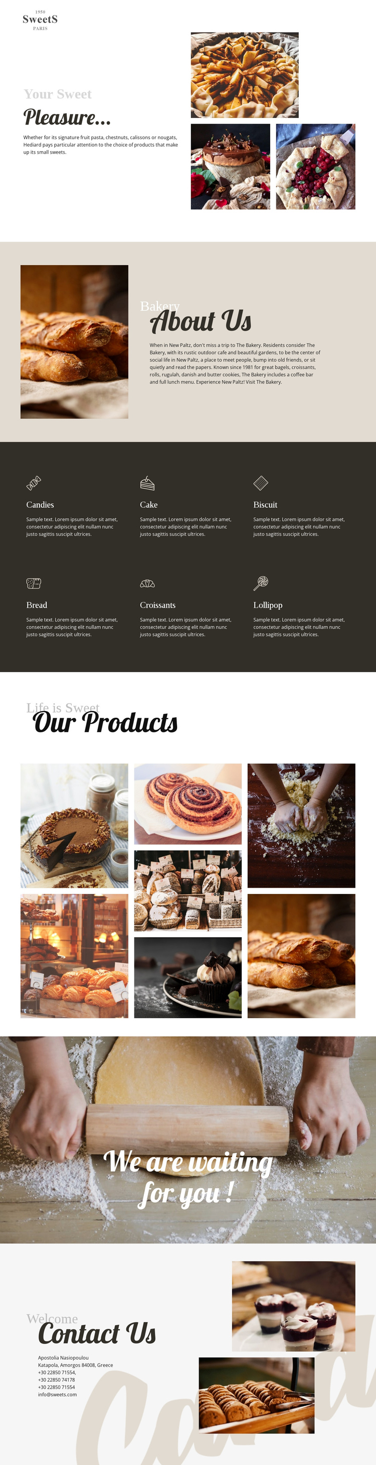 Cakes and baking food Website Builder Software