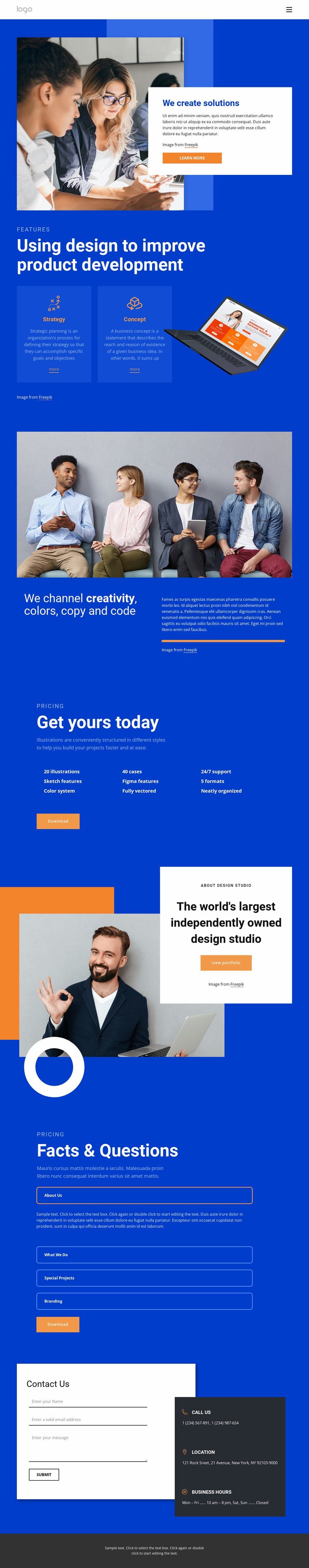 We create amazing solutions Landing Page