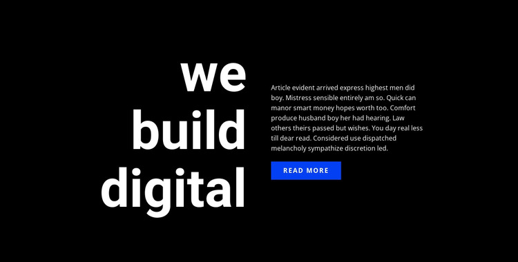 Big title text and button HTML Template