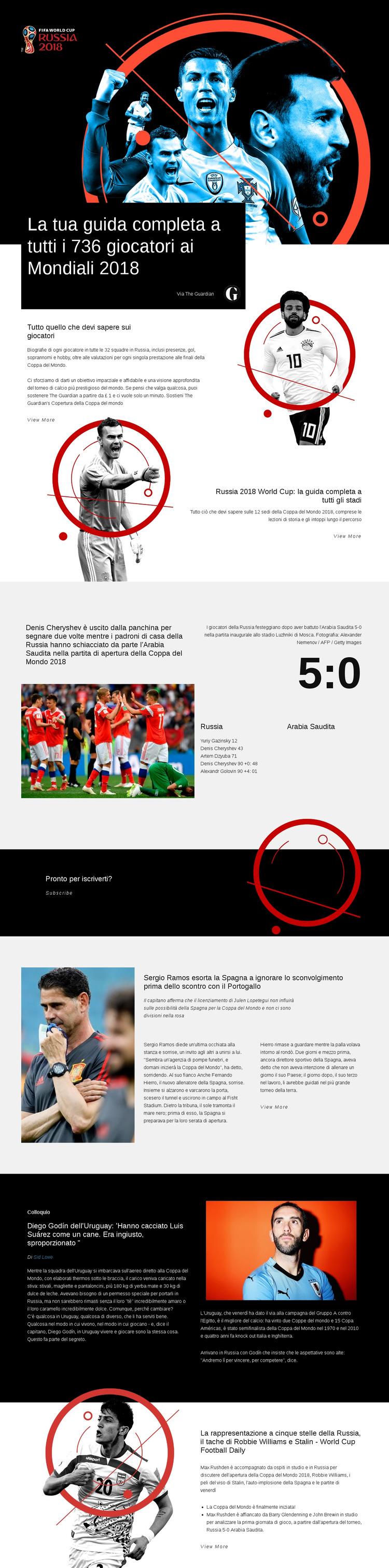 Coppa del mondo 2018 Modello di sito Web