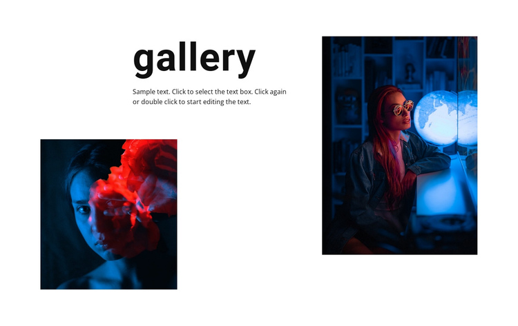 Gallery with neon photos One Page Template
