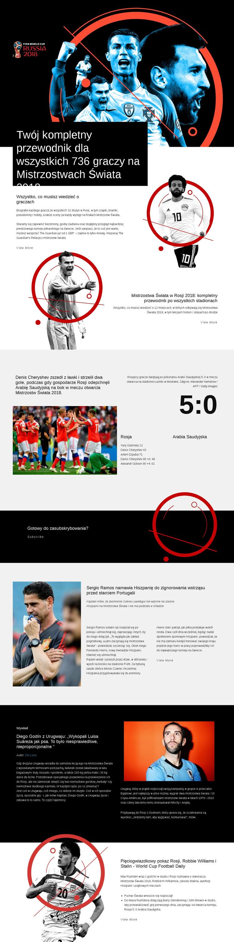 Mistrzostwa Świata 2018 Szablon witryny sieci Web