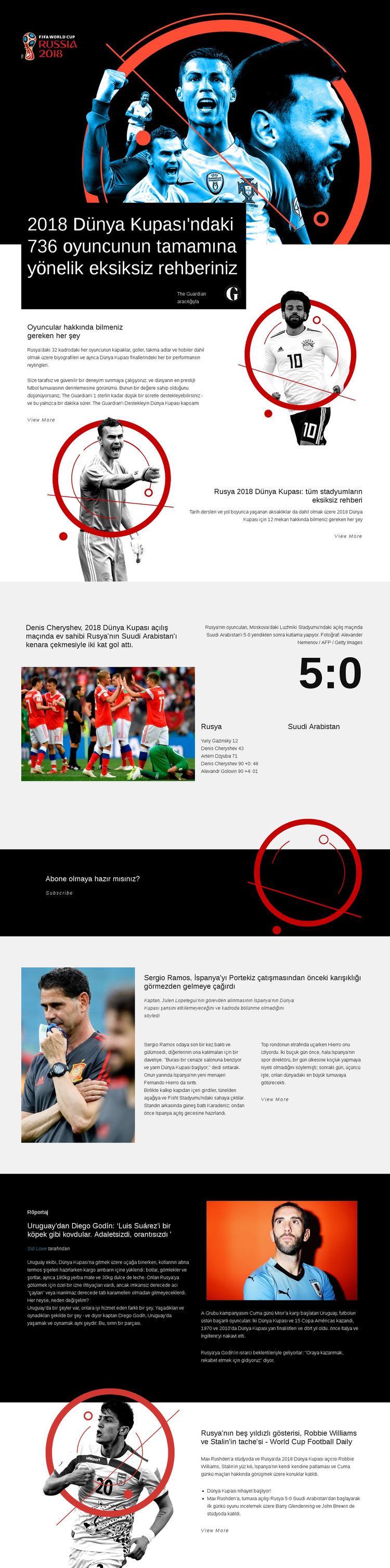 Dünya Kupası 2018 Web Sitesi Şablonu