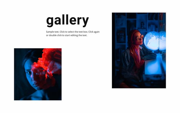 Gallery with neon photos Website Mockup