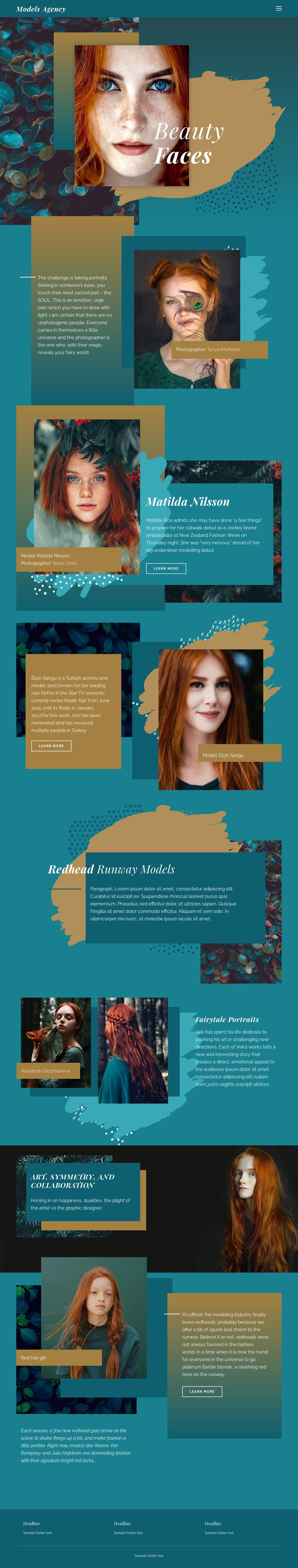 Faces of modern fashion Web Page Design