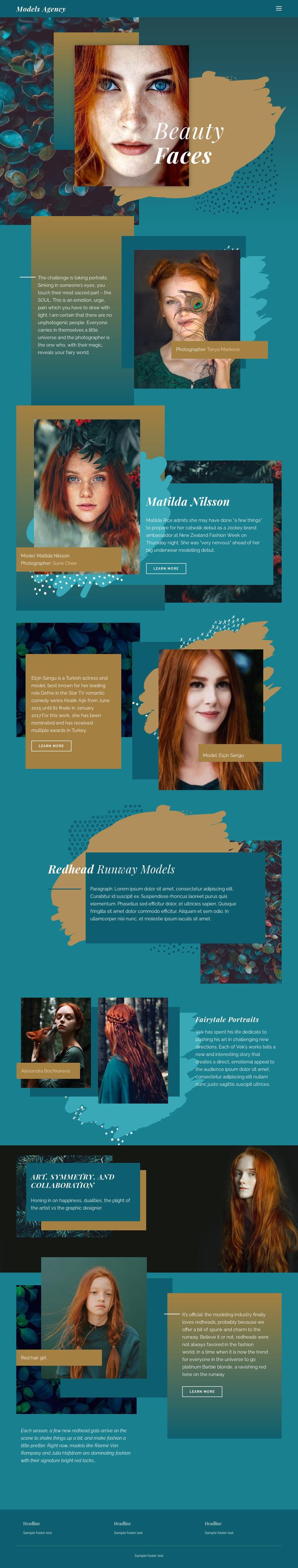 Faces of modern fashion Web Page Designer