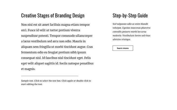Text and button with two columns HTML Template