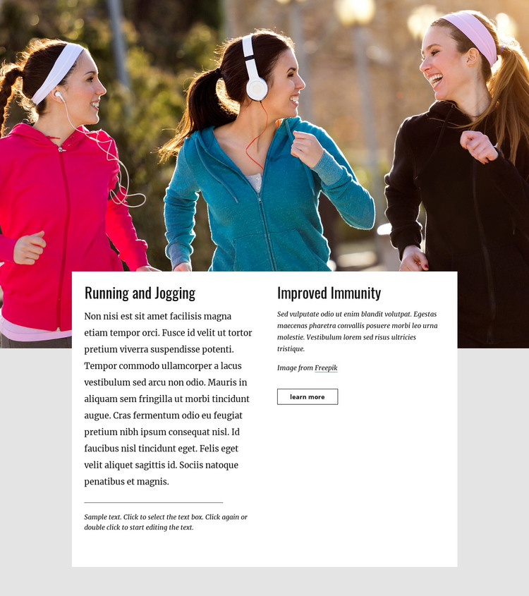 Running and jogging HTML Template