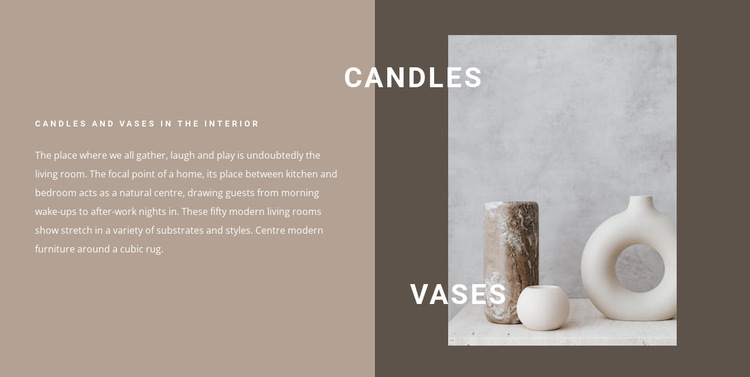 Candles and vases in the interior HTML5 Template