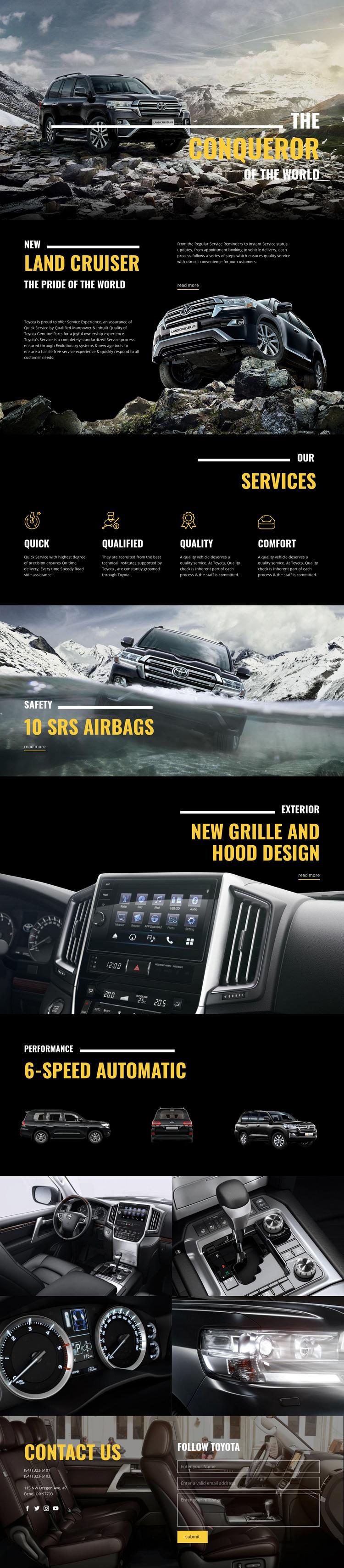 Land Cruiser conqueror car HTML Template