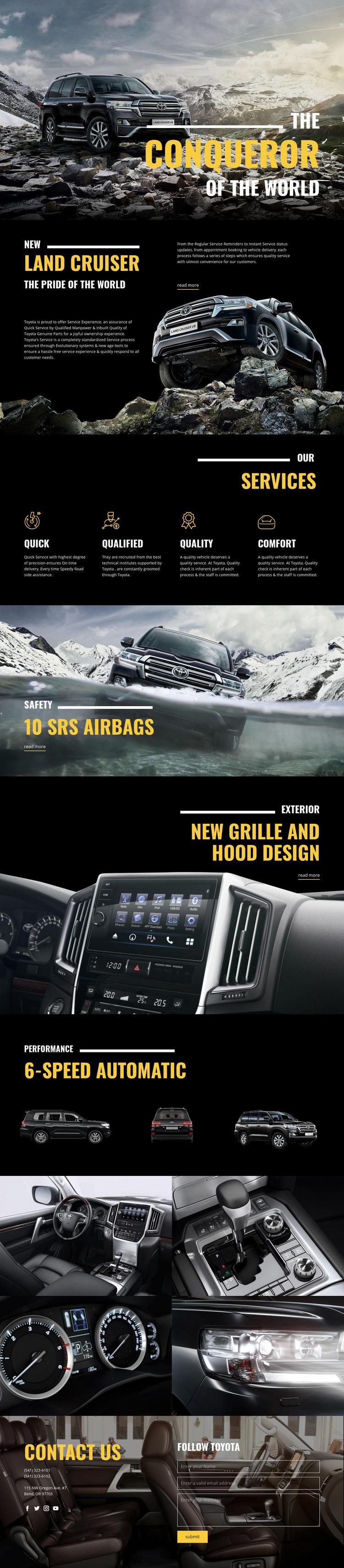 Land Cruiser conqueror car Web Page Design