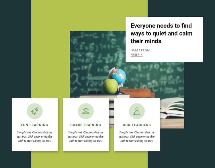 Mental training activities HTML Template