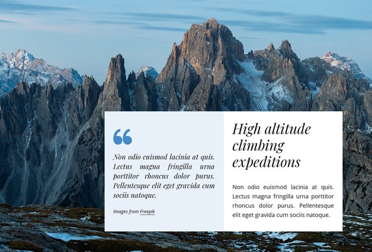 Climbing expeditions Web Page Design