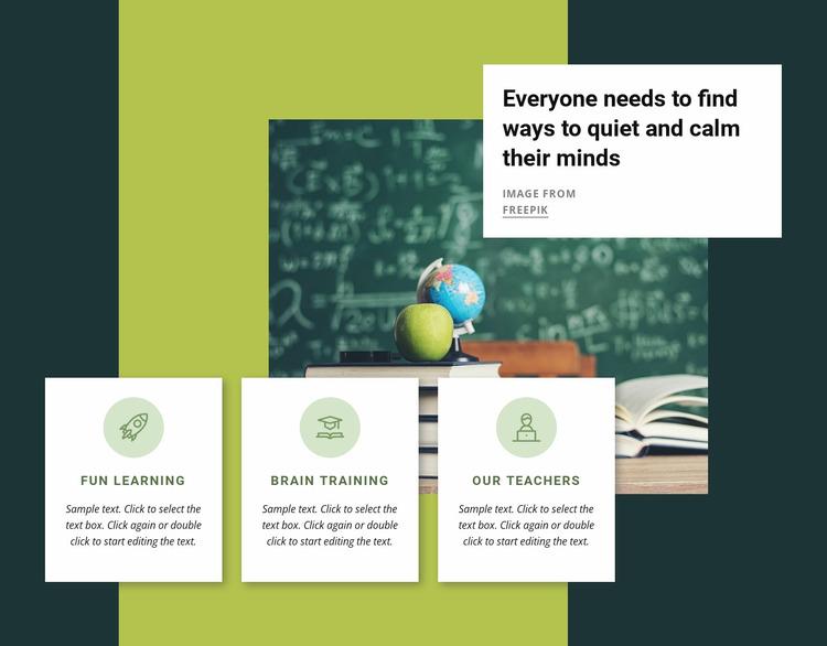 Mental training activities Website Mockup