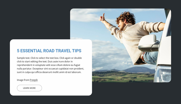 5 Essential road travel trips Website Template