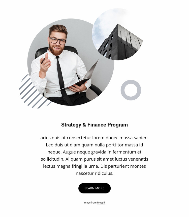 Strategy and finance program Landing Page