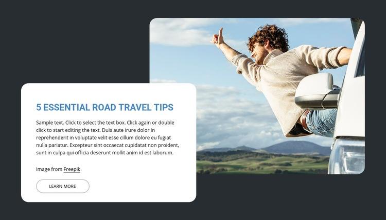 5 Essential road travel trips Wysiwyg Editor Html