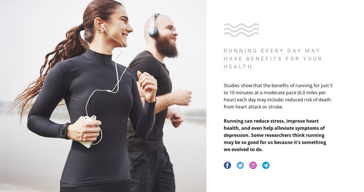 Running can reduce stress HTML Template