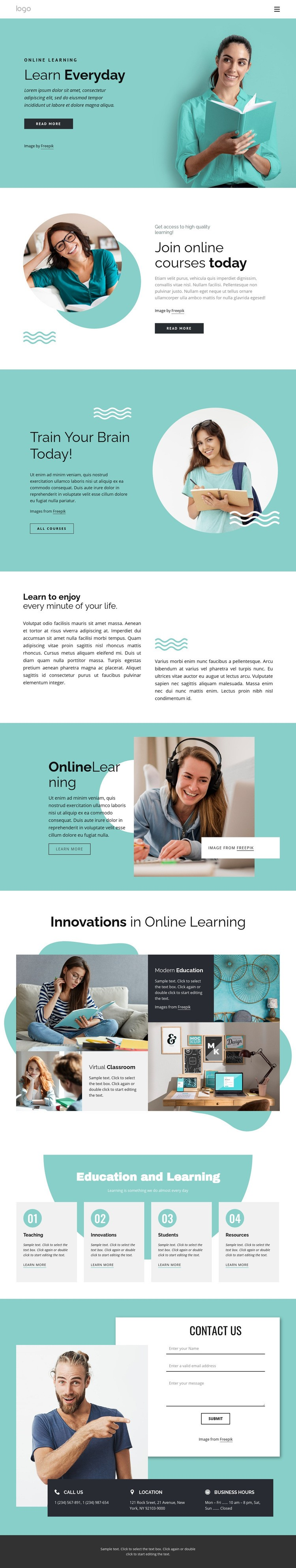 Learning is a lifelong process Homepage Design